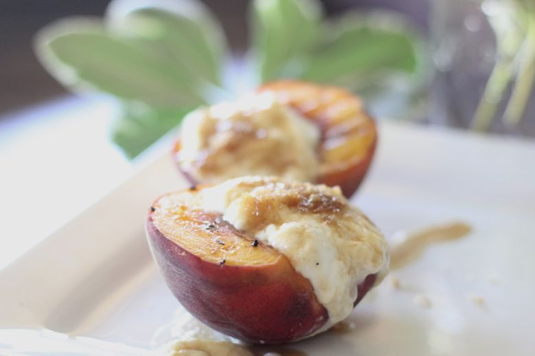 grilled peaches with yogurt cream lovely little kitchen