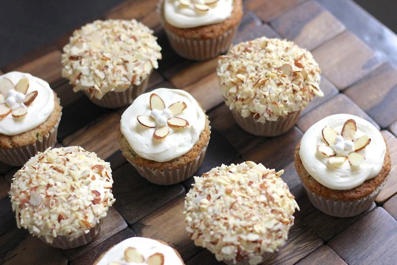 Zucchini Almond Cupcakes Decorated