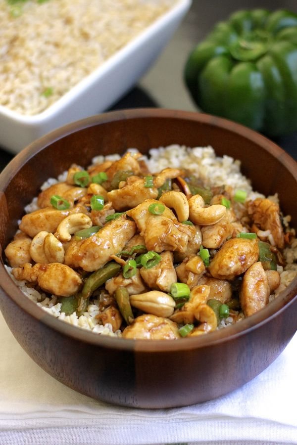 Healthy Cashew Chicken With Brown Rice - healthier version of the ...
