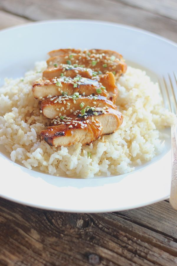 Homemade Teriyaki Chicken and Rice - sticky, sweet homemade teriyaki sauce over grilled chicken and rice