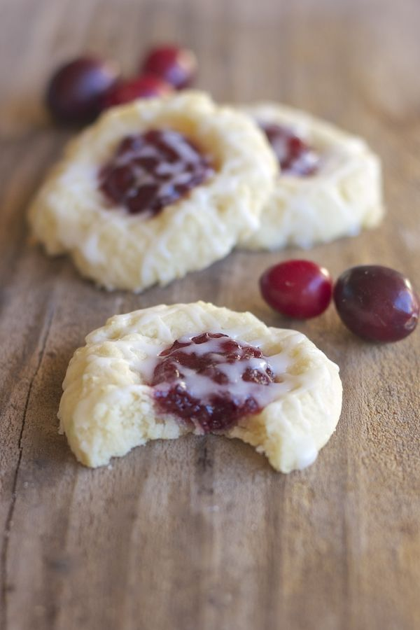 Cranberry Thumbprint Cookies With Almond Glaze | lovelylittlekitchen.com