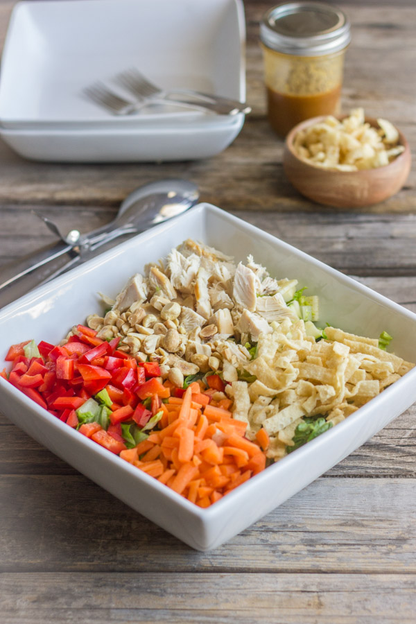 Chopped Chinese Chicken Salad With Sesame Peanut Dressing
