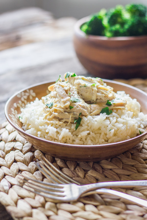Fill your crockpot in the morning and then come back to tender, creamy chicken.