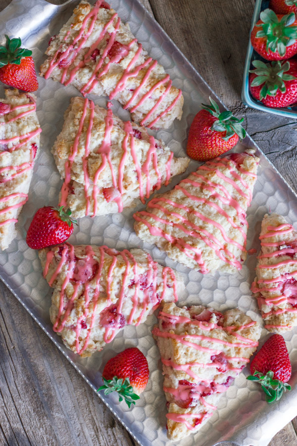 Moist, tender, scones with a pretty pink strawberry drizzle!