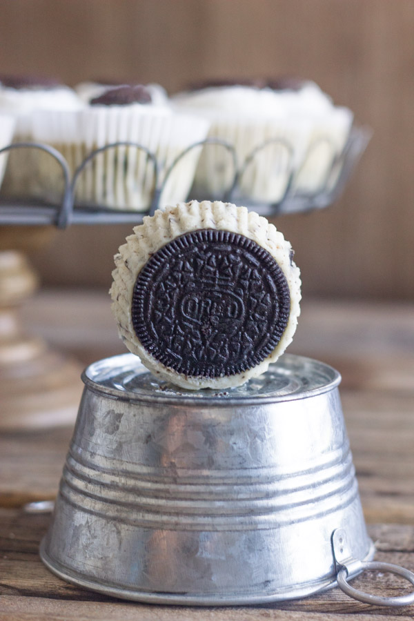 Cookies and Cream Cheesecake Cups - perfect little cups of creamy cheesecake speckled with bits of Oreo cookie!