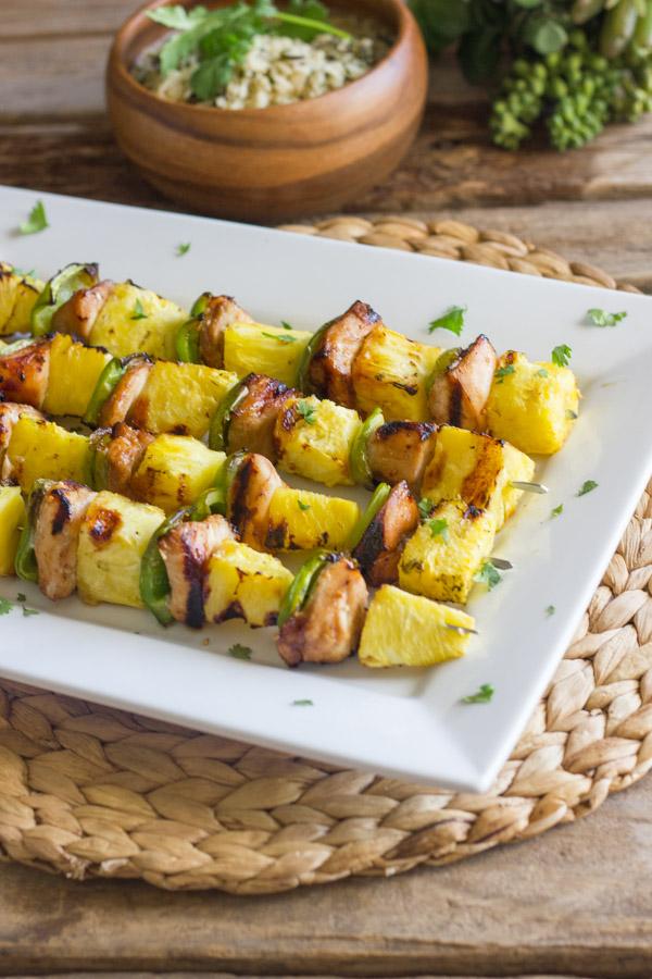 Grilled Teriyaki Chicken and PIneapple Kebabs - teriyaki chicken, sweet juicy grilled pineapple, and crisp green pepper