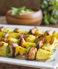 Grilled Teriyaki Chicken and PIneapple Kebabs - teriyaki chicken, sweet juicy grilled pineapple, and crisp green pepper