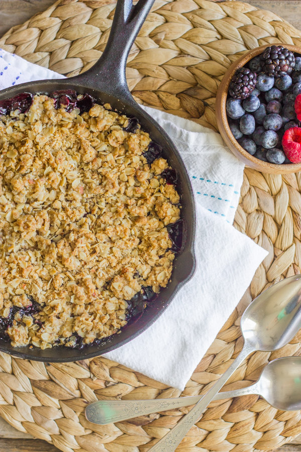 This Triple Berry Skillet Crisp is so good, I made it two days in a row!