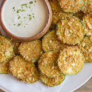 Pita Chip Fried Zucchini - zucchini breaded with pita chip crumbs and fried to golden brown perfection!