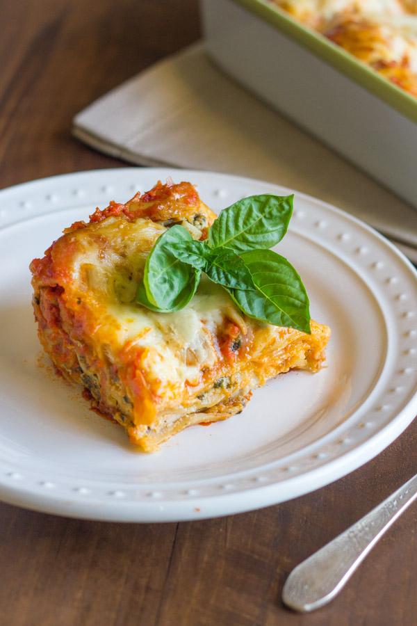 Spinach and Artichoke Chicken Lasagna - A delicious twist on traditional lasagna with three shortcuts!