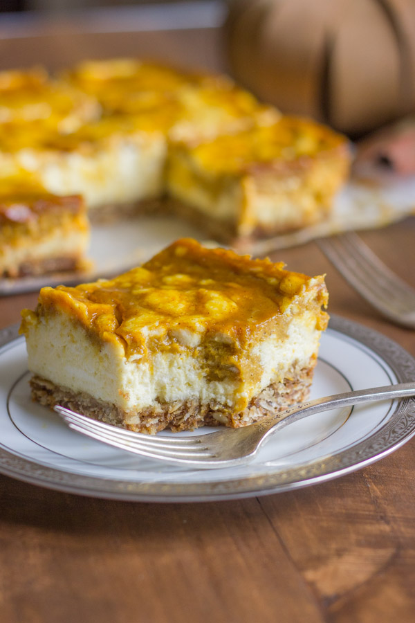 pumpkin pie swirled cheesecake bars with oatmeal cookie