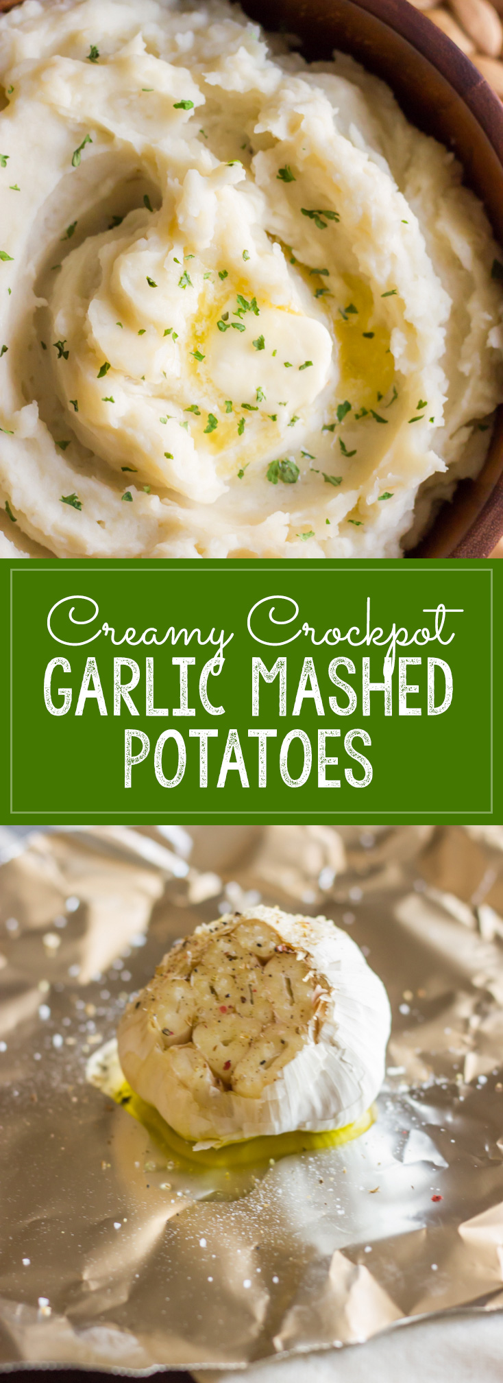 Easy Creamy Crockpot Roasted Garlic Mashed Potatoes - perfectly fluffy and creamy!