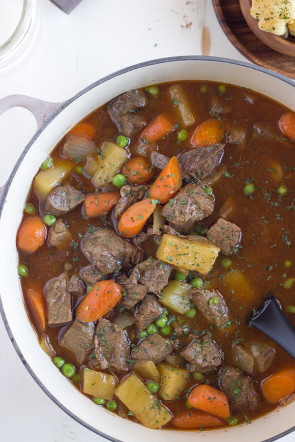 Irish Beef Stew With Shamrock Croutons - with tender beef, potatoes ...