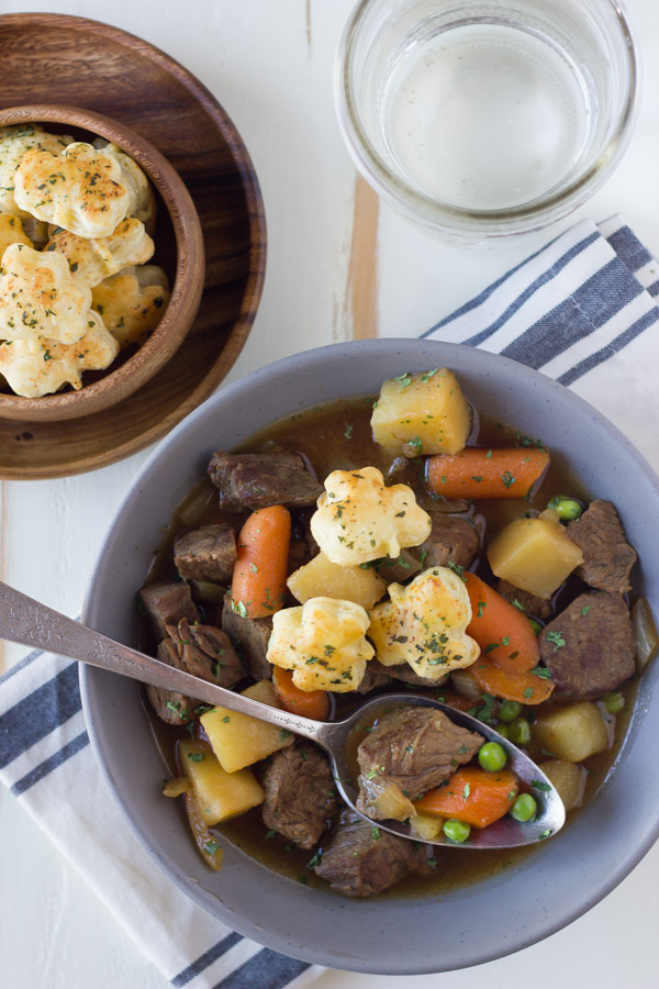 Irish Beef Stew With Shamrock Croutons - with tender beef, potatoes, carrots, peas and onions. Can easily serve a crowd.
