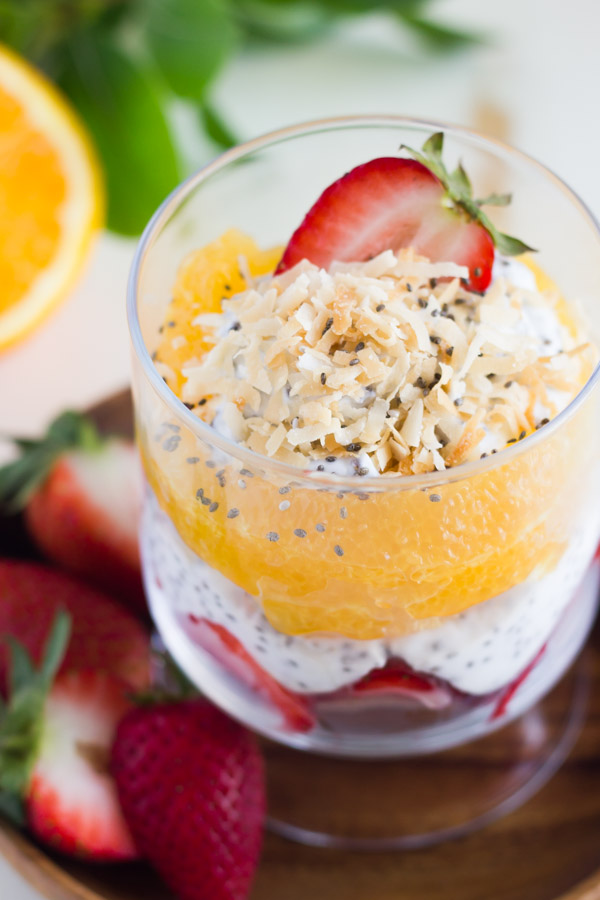 Toasted Coconut Chia Yogurt Fruit Parfait - layers of coconut yogurt, strawberries, oranges, and toasted coconut!