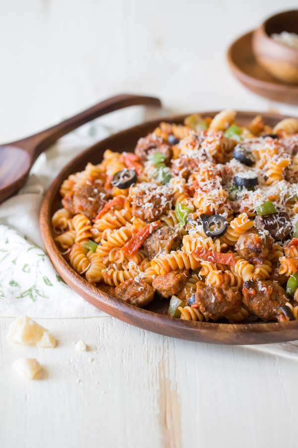 Supreme Pizza Pasta - Everything we love about supreme pizza but with rotini pasta. Quick and easy!