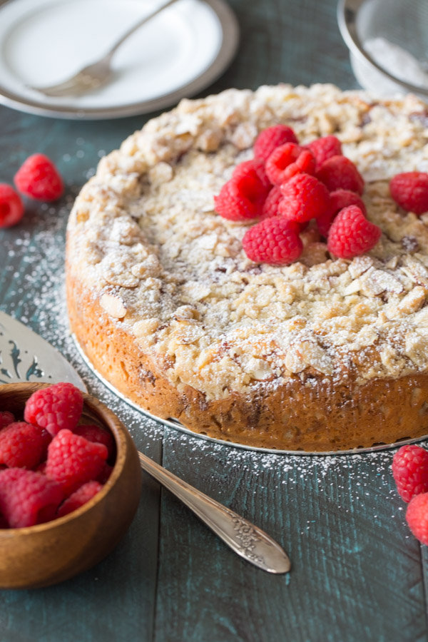 Raspberry Almond Coffee Cake - Layers of moist almond cake, sweetened ...
