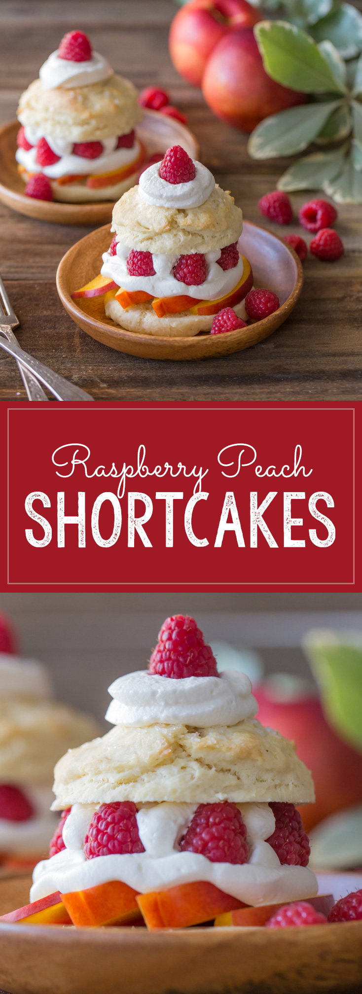 My favorite sweet, buttery, flakey biscuits filled with juicy, ripe peaches, fresh raspberries, and homemade whipped cream.