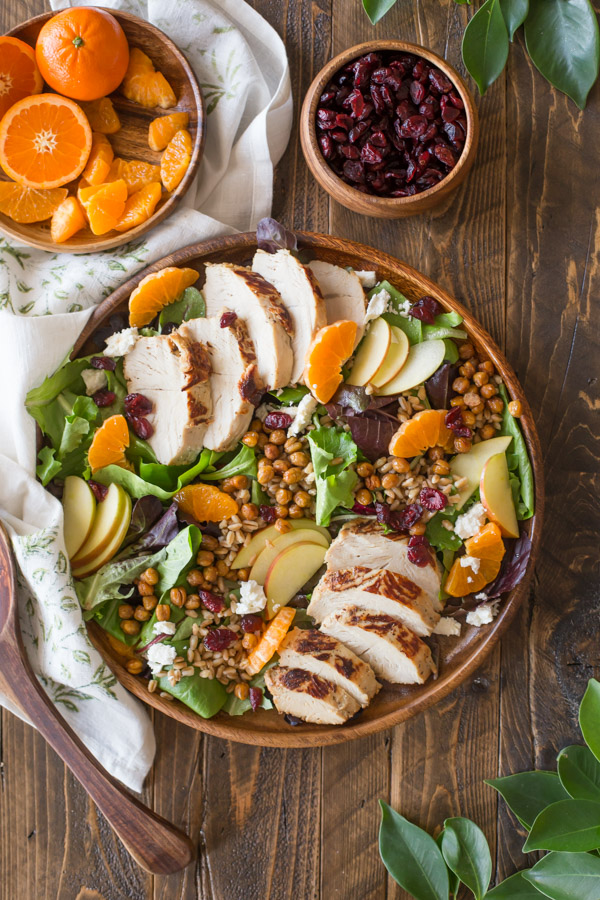 Turkey Farro Salad With Candied Chickpeas - This beautiful harvest time salad is bursting with color, flavors, and textures, and is hearty enough to stand as a main dish for any appetite.