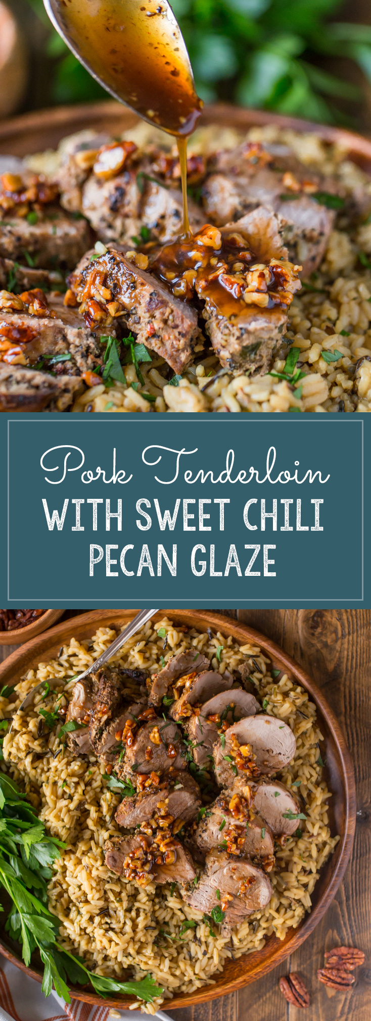 Peppery pork tenderloin is perfectly complimented by a sweet and slightly spicy buttery pecan glaze. My husband and I are crazy about this one!