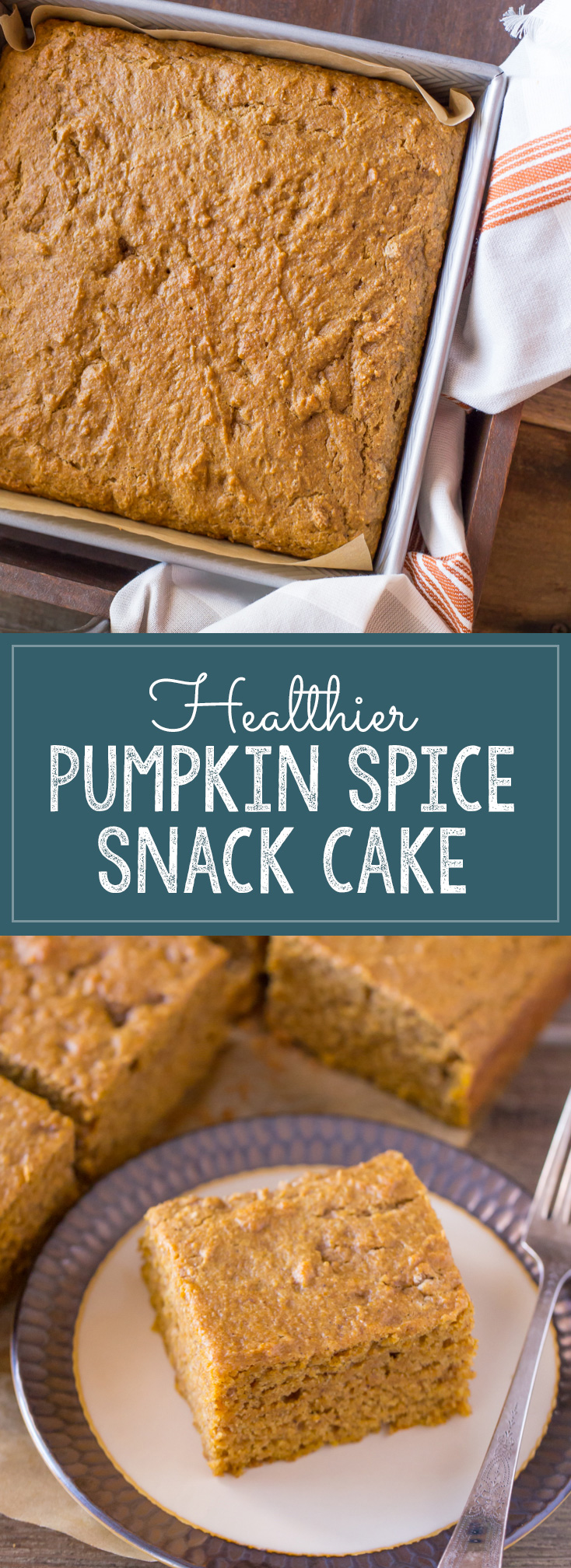 Healthier Pumpkin Spice Snack Cake - A moist, perfectly spiced snack cake made with pumpkin puree, coconut oil, Greek yogurt, and white whole wheat flour