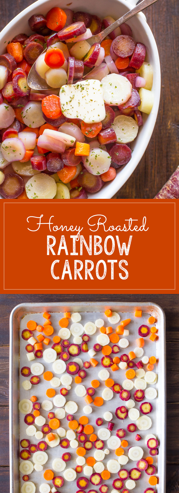 Honey Roasted Rainbow Carrots - A beautiful trio of purple, white, and orange carrots roasted to tender perfection and finished off with honey and butter.