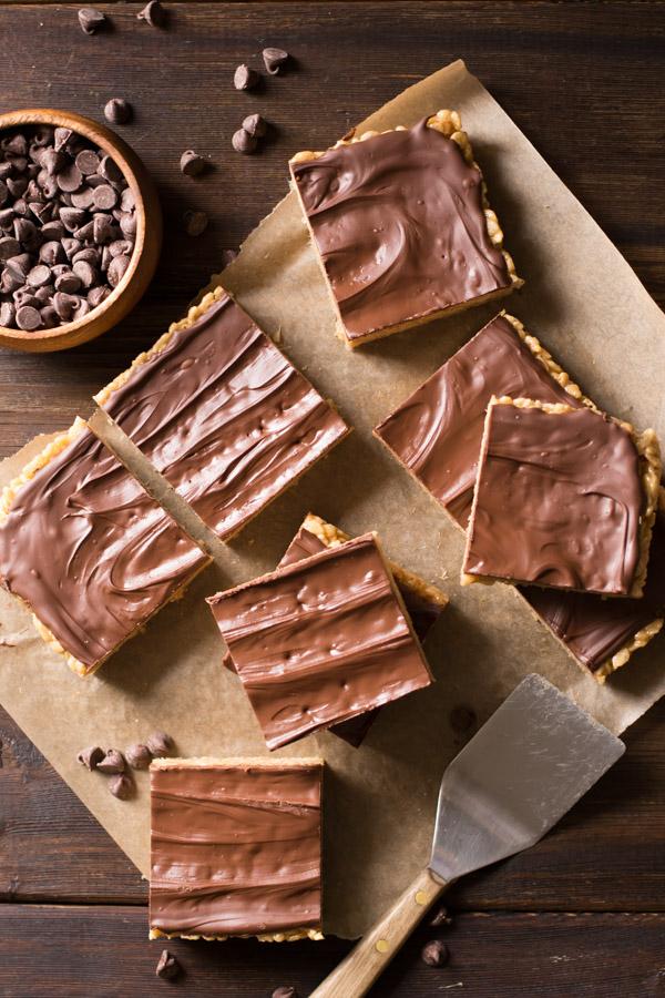 Chocolate Peanut Butter Rice Krispie Bars - Lovely Little ...