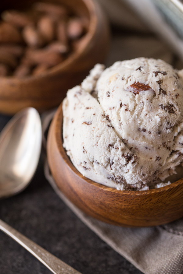 Dark Chocolate Chip Almond Ice Cream - Lovely Little Kitchen