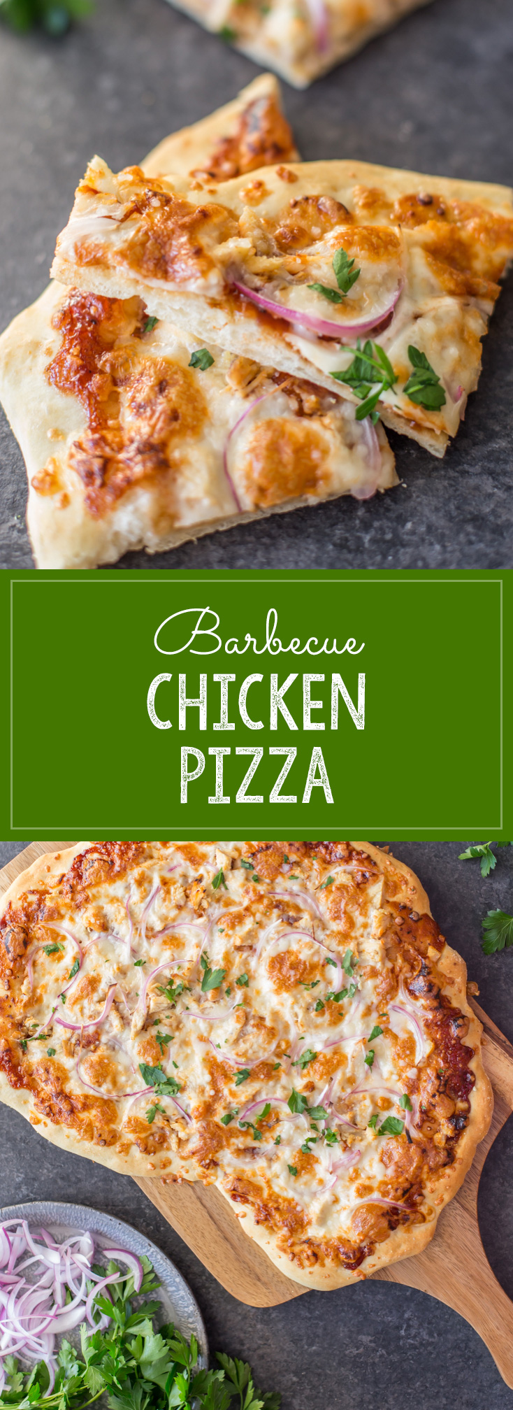 Barbeque Chicken Pizza - Homemade pizza dough topped with barbecue sauce, grilled chicken, mozzarella cheese and red onions. A family favorite!