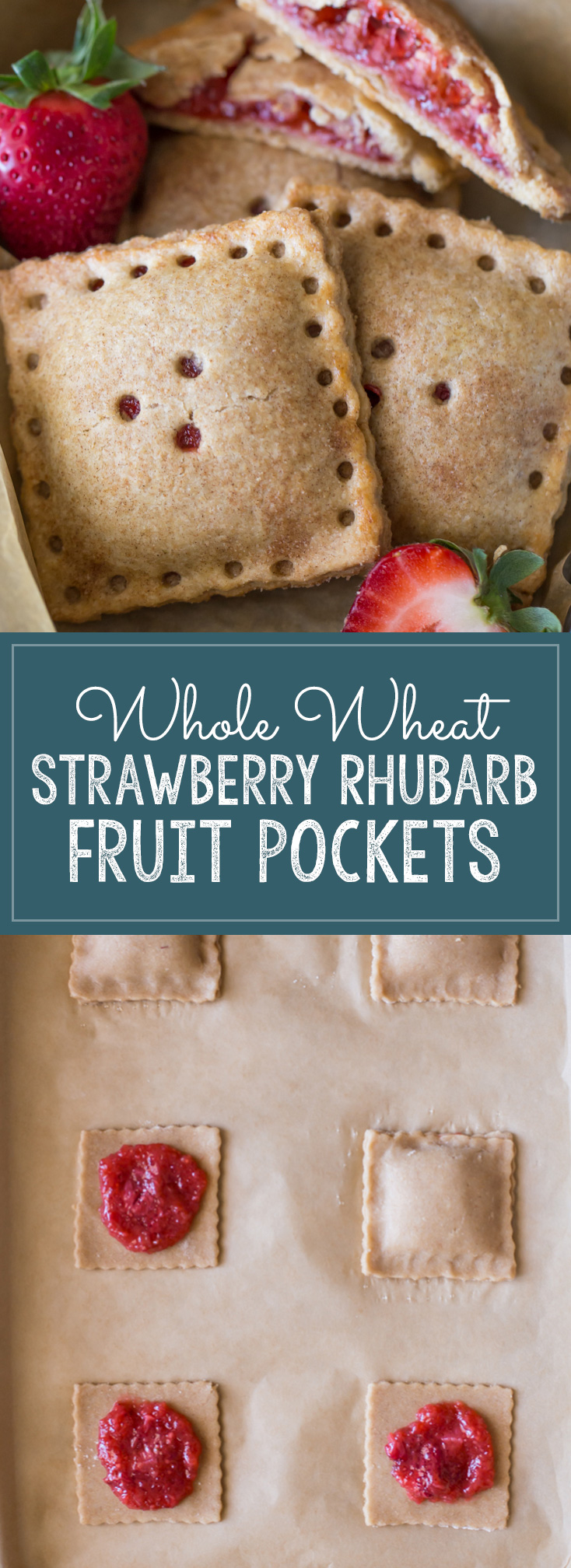 Whole Wheat Strawberry Rhubarb Fruit Pocket - A tasty, kid-friendly, portable fruit pocket made with a whole wheat crust and fresh strawberries and rhubarb.