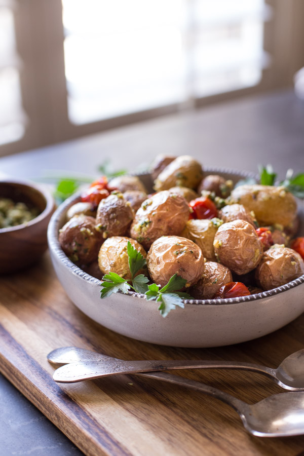 roasted baby potatoes with pesto lovely little kitchen