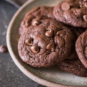 One Bowl Triple Chocolate Brownie Cookies-3