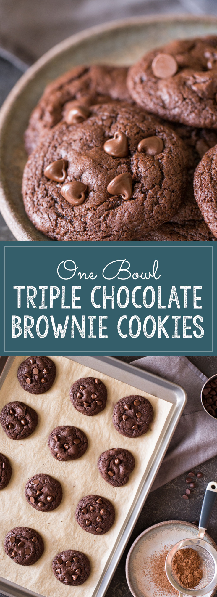 These One Bowl Triple Chocolate Brownie Cookies are so delicious and easy to make too!