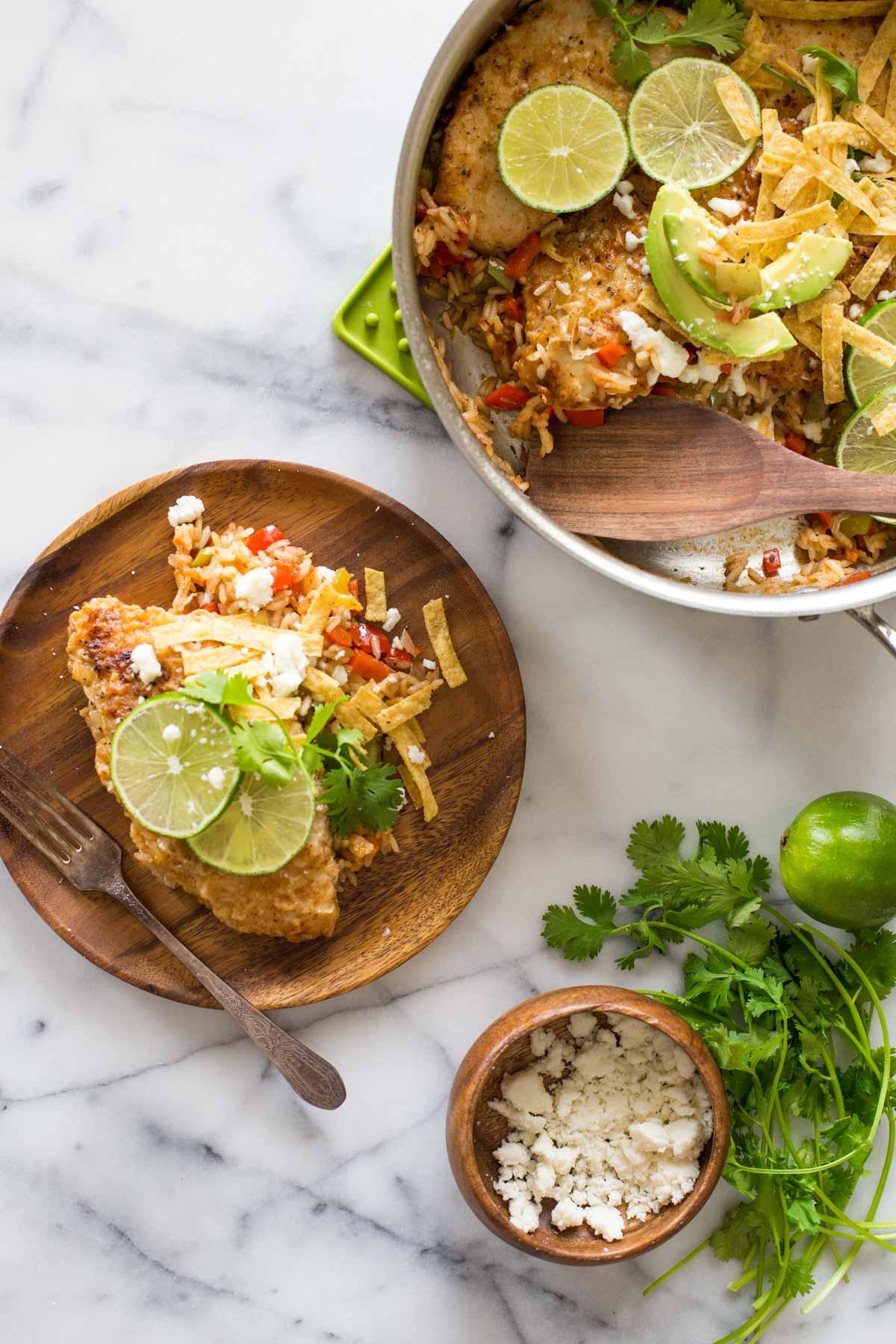 one skillet fajita style chicken and rice lovely little kitchen