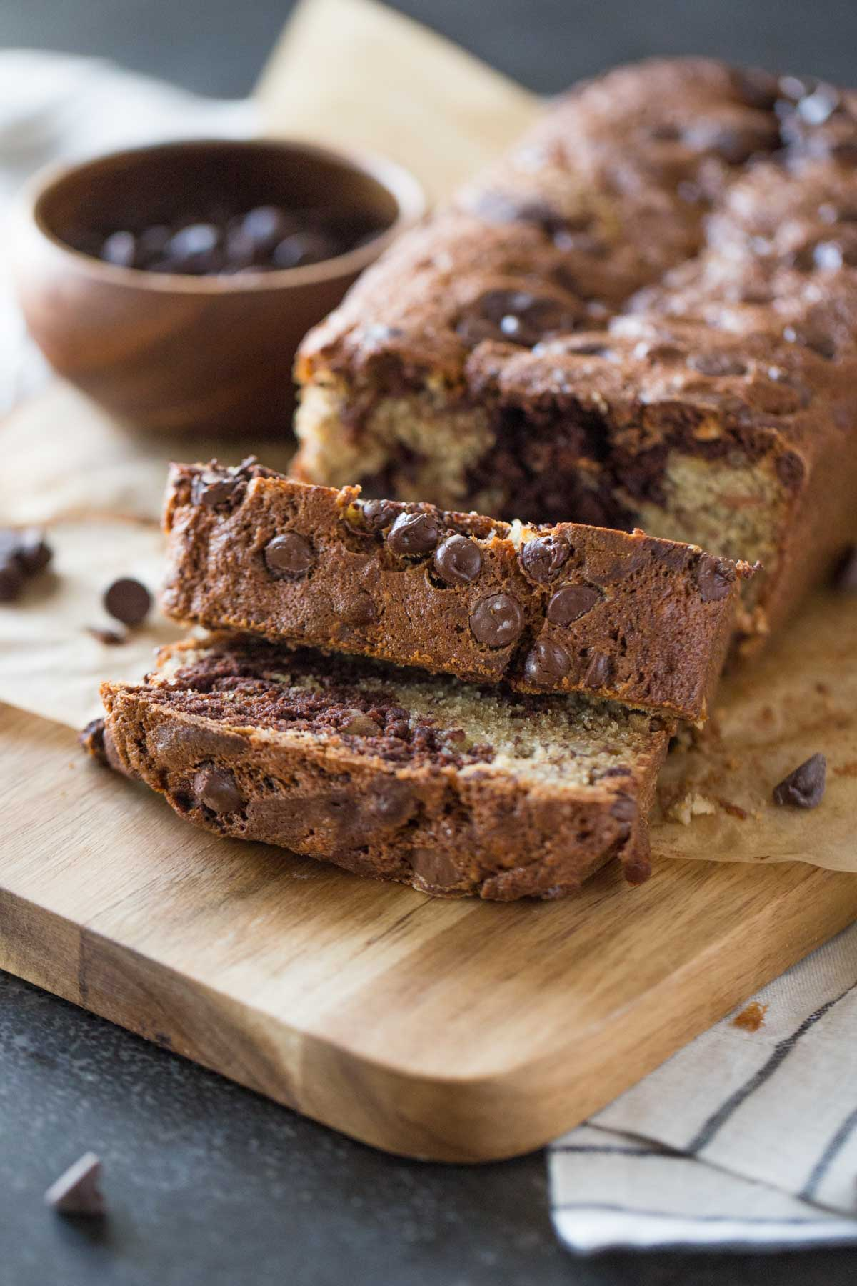 Chocolate and banana are so delicious together, and the texture of this bread with the delicate pieces of sliced almonds is just right!