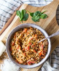 The whole family will love this One Pot Creamy Tomato Orzo made with turkey sausage, fire roasted tomatoes, red peppers, spinach, cheese and whole wheat pasta!
