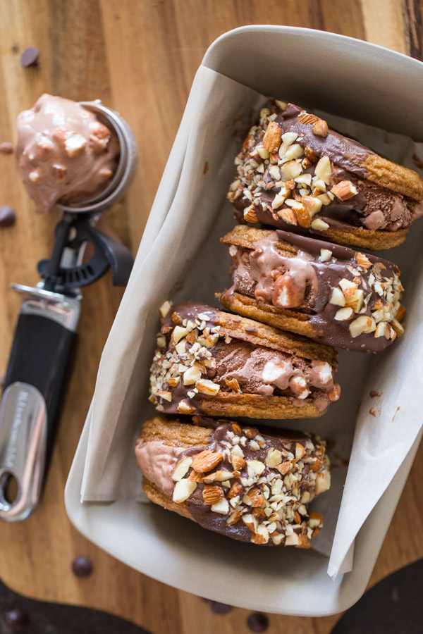 We've got a graham cracker cookie plus Rocky Road Ice Cream, a milk chocolate coating, and some crushed roasted and salted almonds!