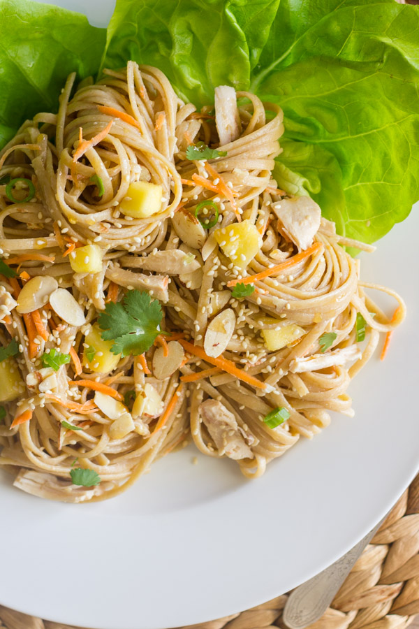 Something Asian chicken noodle salad