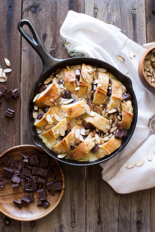 Chocolate almond bread pudding lovely little kitchen chocolate almond bread pudding its decadent warm and cozy with gooey chocolate and almond fandeluxe Choice Image